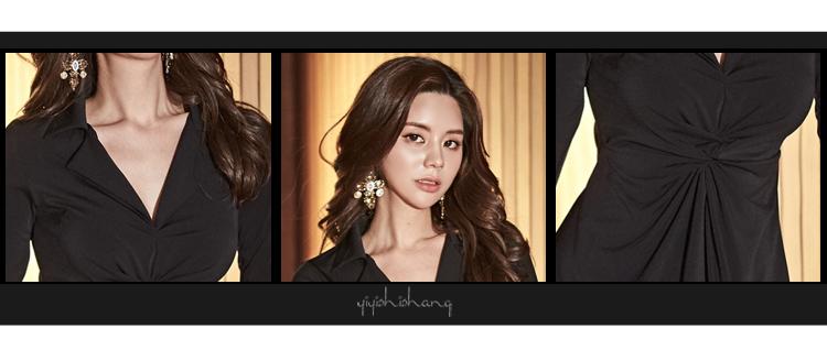 韓国 ファッション ワンピース パーティードレス ショート ミニ丈 秋 冬 パーティー ブライダル PTXG879 結婚式 お呼ばれ シャツワンピ風 ねじり ゆるタイト 体型 二次会 セレブ きれいめの写真15枚目