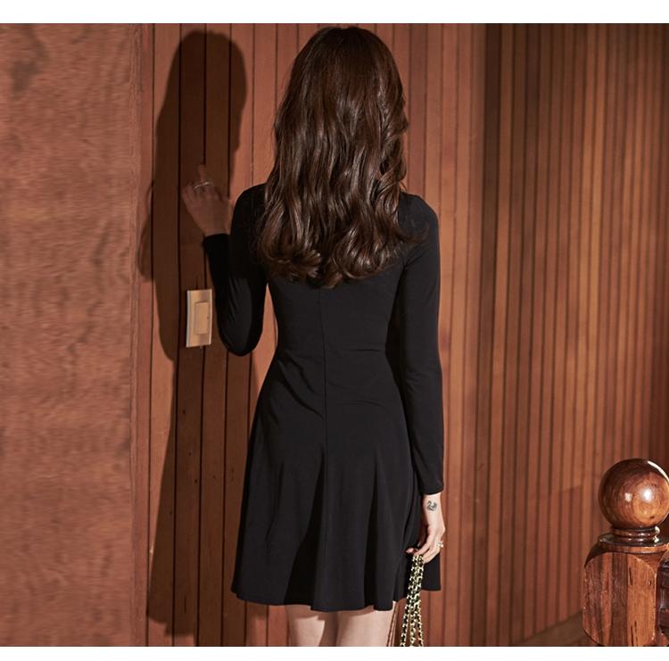 韓国 ファッション ワンピース パーティードレス ショート ミニ丈 秋 冬 パーティー ブライダル PTXG879 結婚式 お呼ばれ シャツワンピ風 ねじり ゆるタイト 体型 二次会 セレブ きれいめの写真17枚目