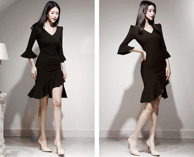 【即納】韓国 ファッション ワンピース パーティードレス ショート ミニ丈 秋 冬 パーティー ブライダル SPTXG907 結婚式 お呼ばれ アシンメトリー フリル マーメ 二次会 セレブ きれいめの写真7枚目