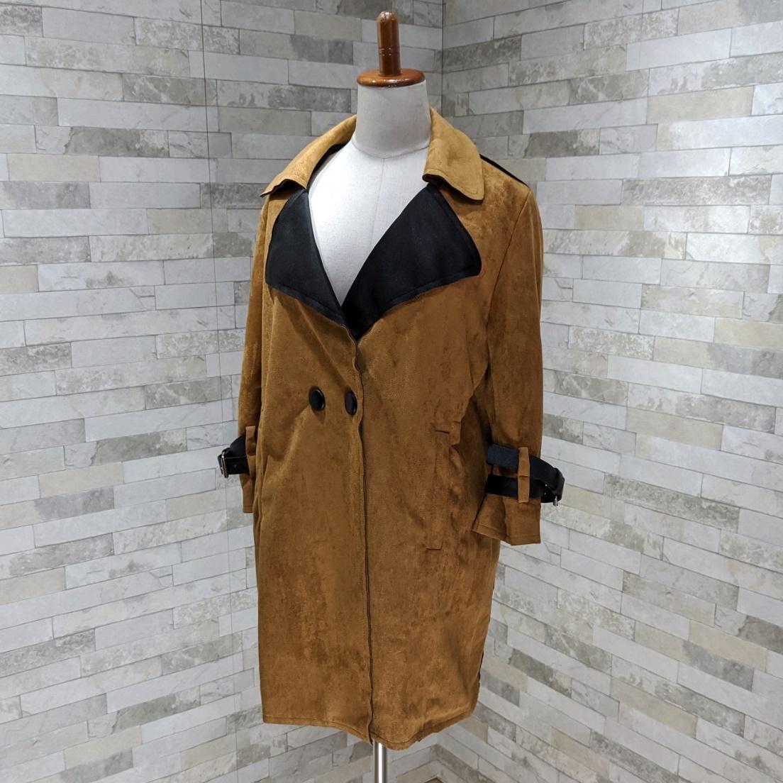 【即納】韓国 ファッション アウター レザージャケット コート 秋 冬 パーティー ブライダル SPTXG910  革ベルト風 エコスエード ジャケット ショート 二次会 セレブ きれいめの写真9枚目
