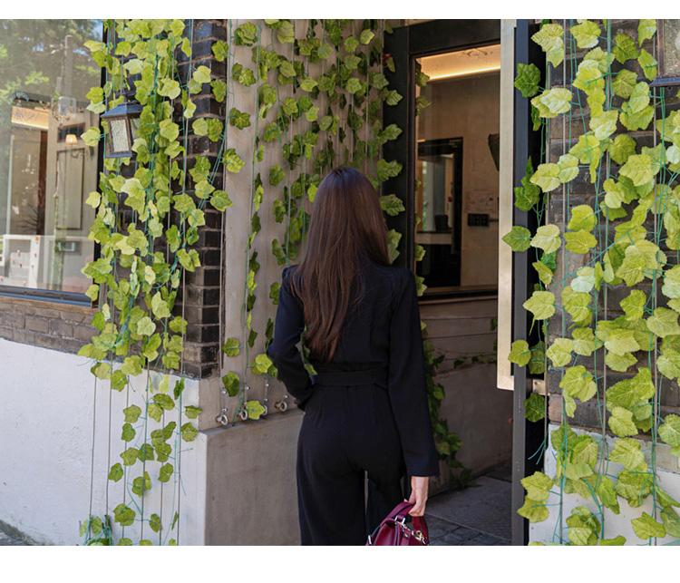 韓国 ファッション オールインワン サロペット 秋 冬 パーティー ブライダル PTXG916  深Vネック ベルトマーク ワイドストレート 二次会 セレブ きれいめの写真9枚目