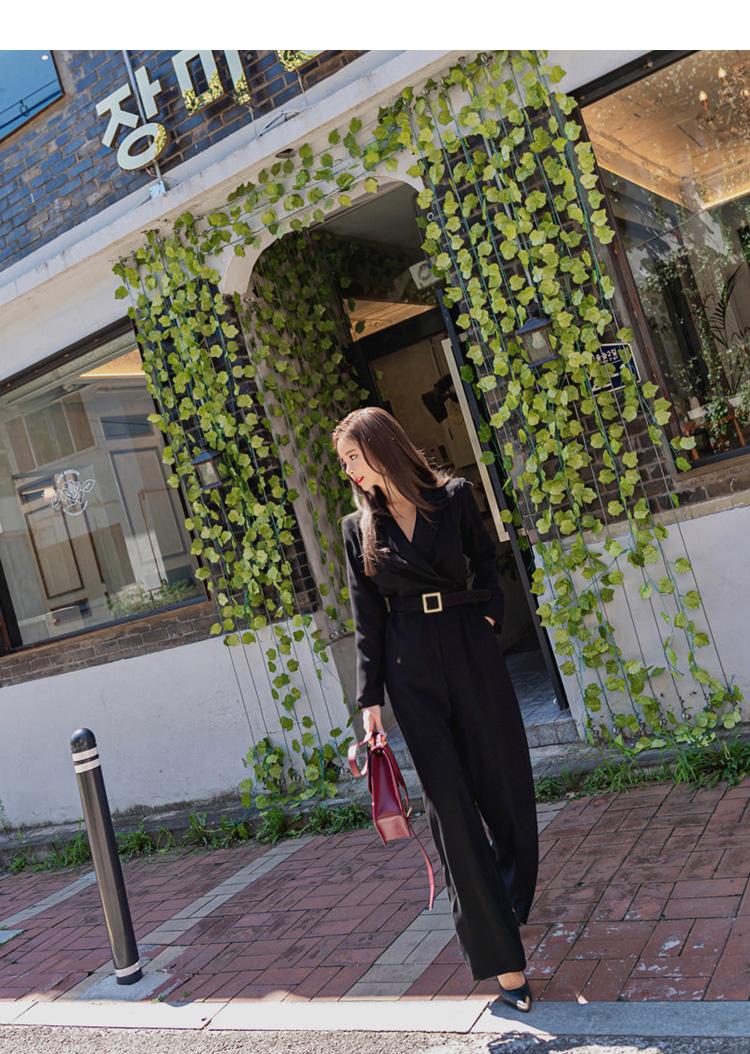 韓国 ファッション オールインワン サロペット 秋 冬 パーティー ブライダル PTXG916  深Vネック ベルトマーク ワイドストレート 二次会 セレブ きれいめの写真10枚目