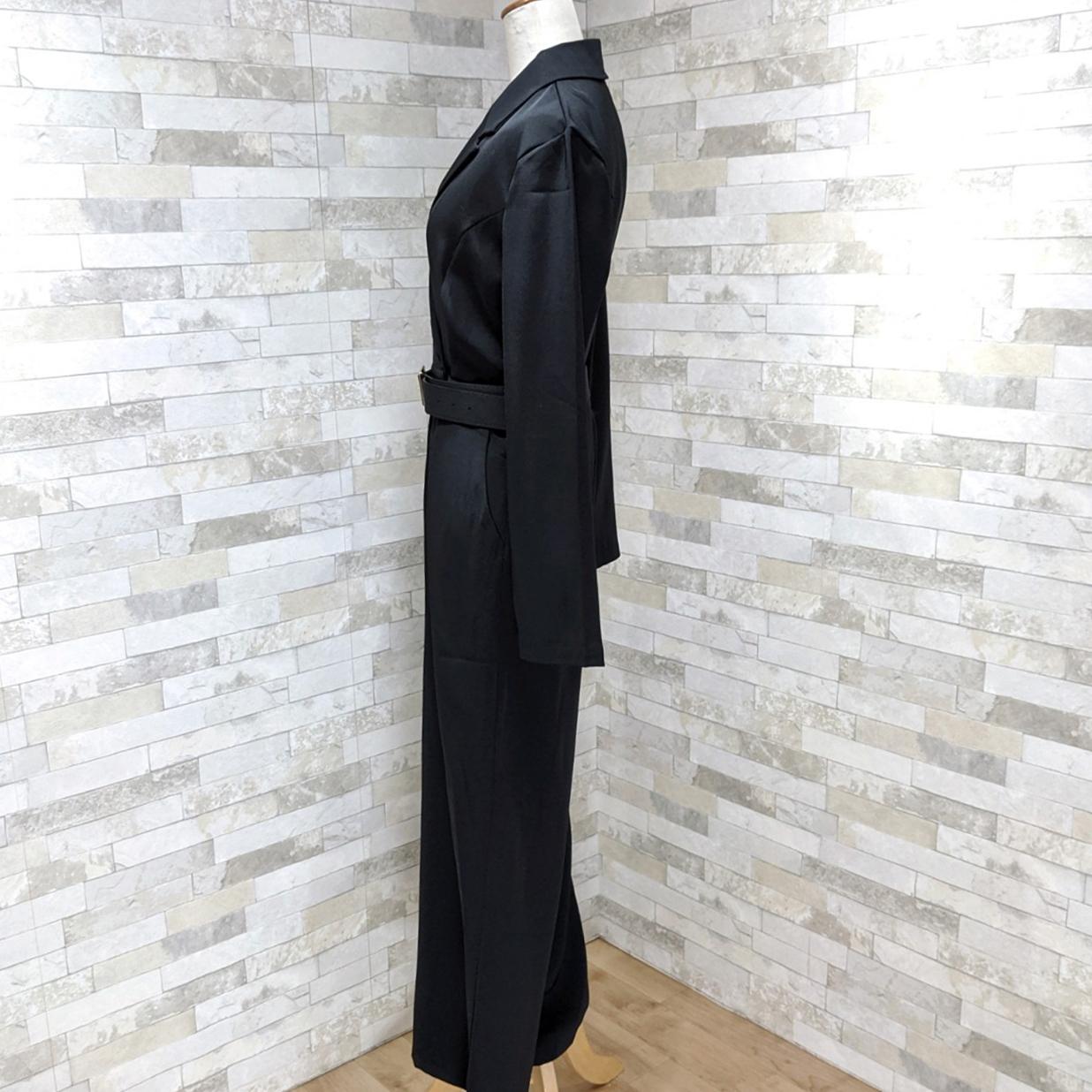 韓国 ファッション オールインワン サロペット 秋 冬 パーティー ブライダル PTXG916  深Vネック ベルトマーク ワイドストレート 二次会 セレブ きれいめの写真17枚目