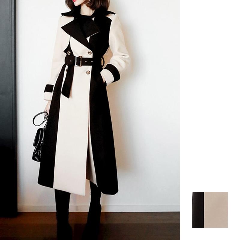 【即納】韓国 ファッション アウター コート 秋 冬 パーティー ブライダル SPTXG918  ミリタリー調 バイカラー アシンメトリー 二次会 セレブ きれいめの写真1枚目