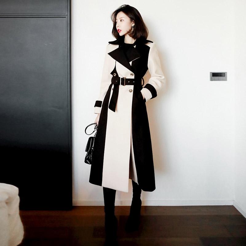 【即納】韓国 ファッション アウター コート 秋 冬 パーティー ブライダル SPTXG918  ミリタリー調 バイカラー アシンメトリー 二次会 セレブ きれいめの写真2枚目
