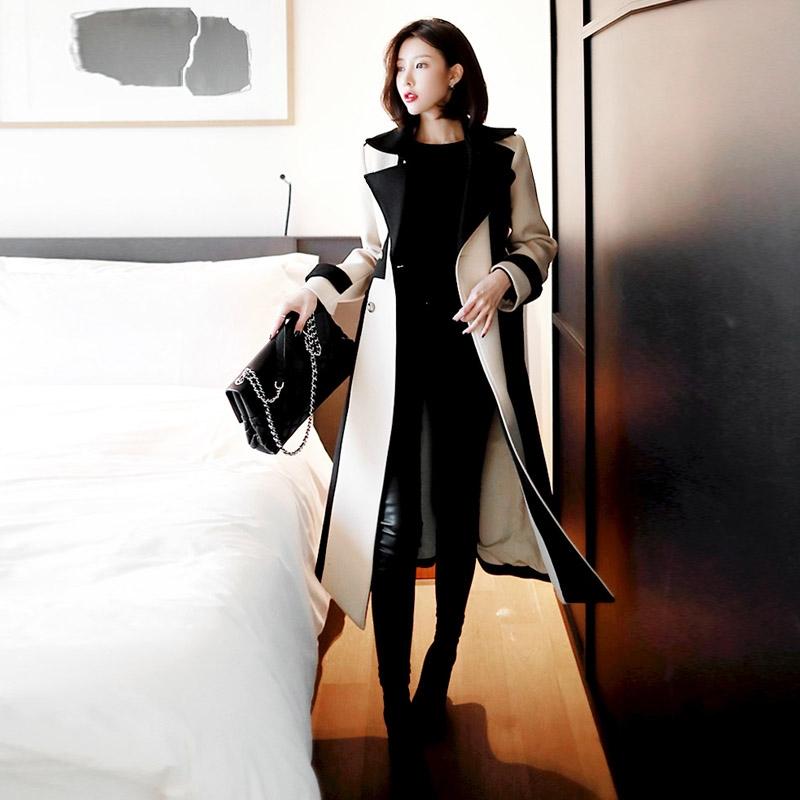【即納】韓国 ファッション アウター コート 秋 冬 パーティー ブライダル SPTXG918  ミリタリー調 バイカラー アシンメトリー 二次会 セレブ きれいめの写真4枚目