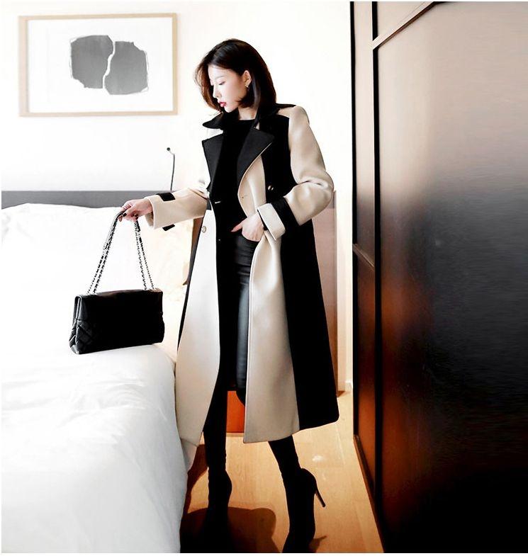 【即納】韓国 ファッション アウター コート 秋 冬 パーティー ブライダル SPTXG918  ミリタリー調 バイカラー アシンメトリー 二次会 セレブ きれいめの写真5枚目