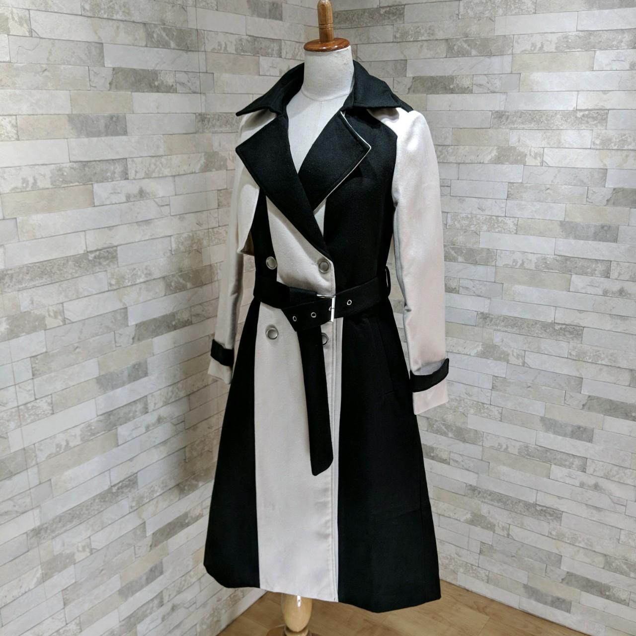 【即納】韓国 ファッション アウター コート 秋 冬 パーティー ブライダル SPTXG918  ミリタリー調 バイカラー アシンメトリー 二次会 セレブ きれいめの写真6枚目