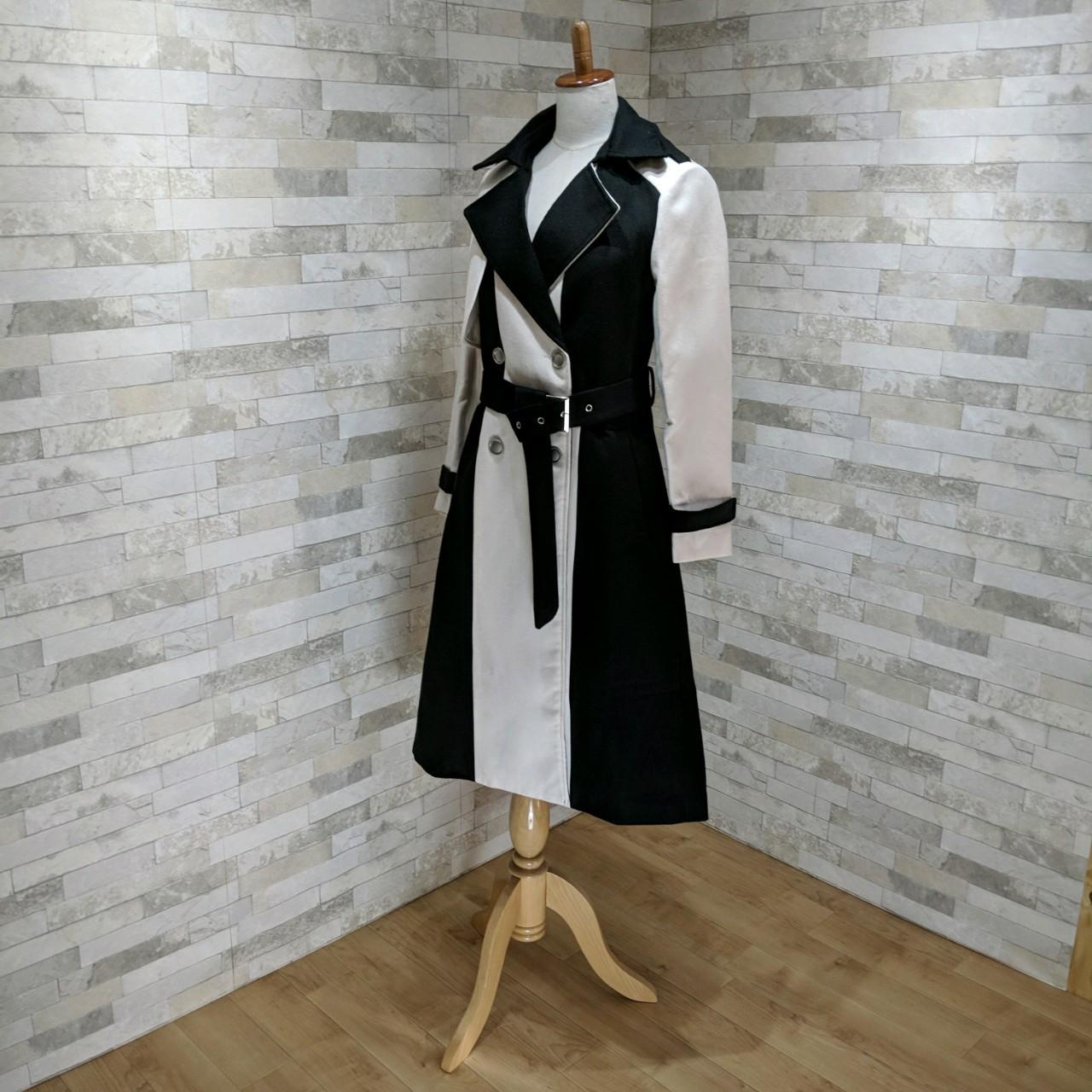 【即納】韓国 ファッション アウター コート 秋 冬 パーティー ブライダル SPTXG918  ミリタリー調 バイカラー アシンメトリー 二次会 セレブ きれいめの写真7枚目