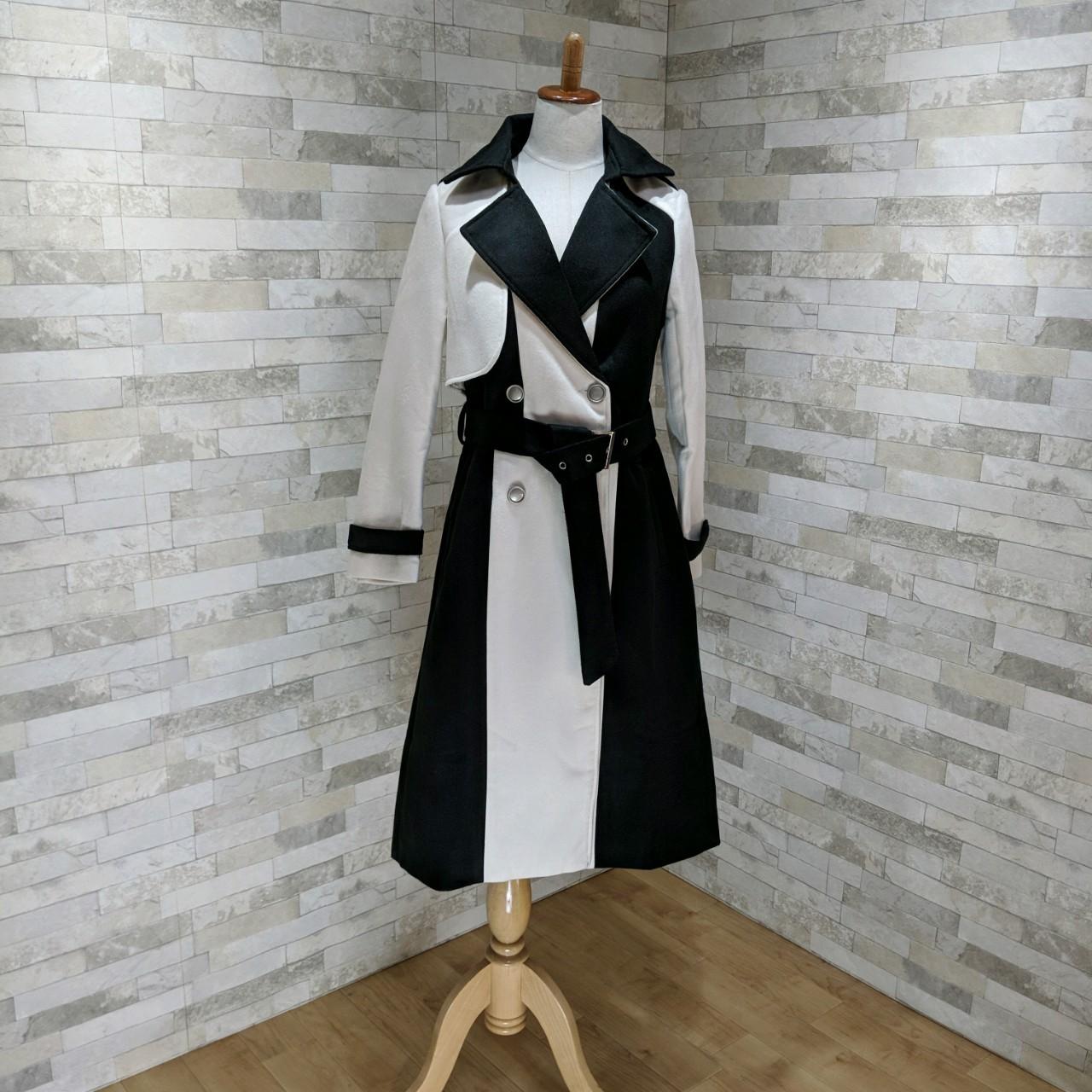 【即納】韓国 ファッション アウター コート 秋 冬 パーティー ブライダル SPTXG918  ミリタリー調 バイカラー アシンメトリー 二次会 セレブ きれいめの写真8枚目