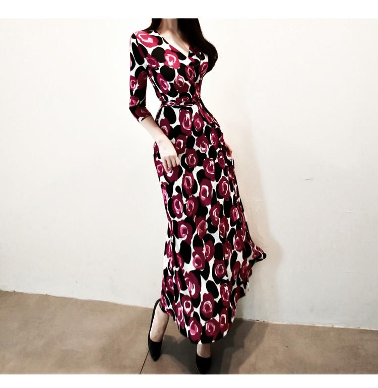 【即納】韓国 ファッション ワンピース パーティードレス ロング マキシ 秋 冬 パーティー ブライダル SPTXG919 結婚式 お呼ばれ 大柄 深Vネック Aライン フレ 二次会 セレブ きれいめの写真5枚目