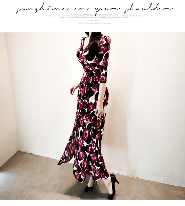 【即納】韓国 ファッション ワンピース パーティードレス ロング マキシ 秋 冬 パーティー ブライダル SPTXG919 結婚式 お呼ばれ 大柄 深Vネック Aライン フレ 二次会 セレブ きれいめの写真6枚目