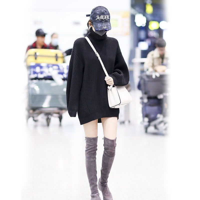 韓国 ファッション トップス ニット セーター 秋 冬 カジュアル PTXG960  ゆるタートル ビッグシルエット ミニワンピ風 オルチャン シンプル 定番 セレカジの写真5枚目