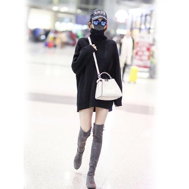 韓国 ファッション トップス ニット セーター 秋 冬 カジュアル PTXG960  ゆるタートル ビッグシルエット ミニワンピ風 オルチャン シンプル 定番 セレカジの写真6枚目
