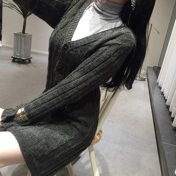 韓国 ファッション トップス ニット セーター 秋 冬 カジュアル PTXH089  深Vネック ケーブルニット ミニワンピ カーディ オルチャン シンプル 定番 セレカジの写真11枚目
