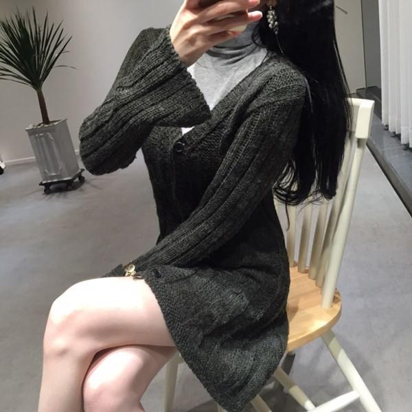 韓国 ファッション トップス ニット セーター 秋 冬 カジュアル PTXH089  深Vネック ケーブルニット ミニワンピ カーディ オルチャン シンプル 定番 セレカジの写真12枚目