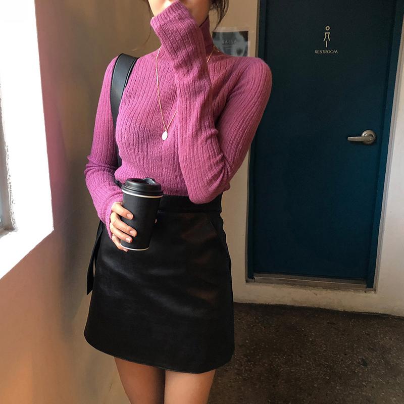 韓国 ファッション トップス ニット セーター 秋 冬 カジュアル PTXH099  タイト目 薄手 リブニット ベーシック 着回し オルチャン シンプル 定番 セレカジの写真6枚目