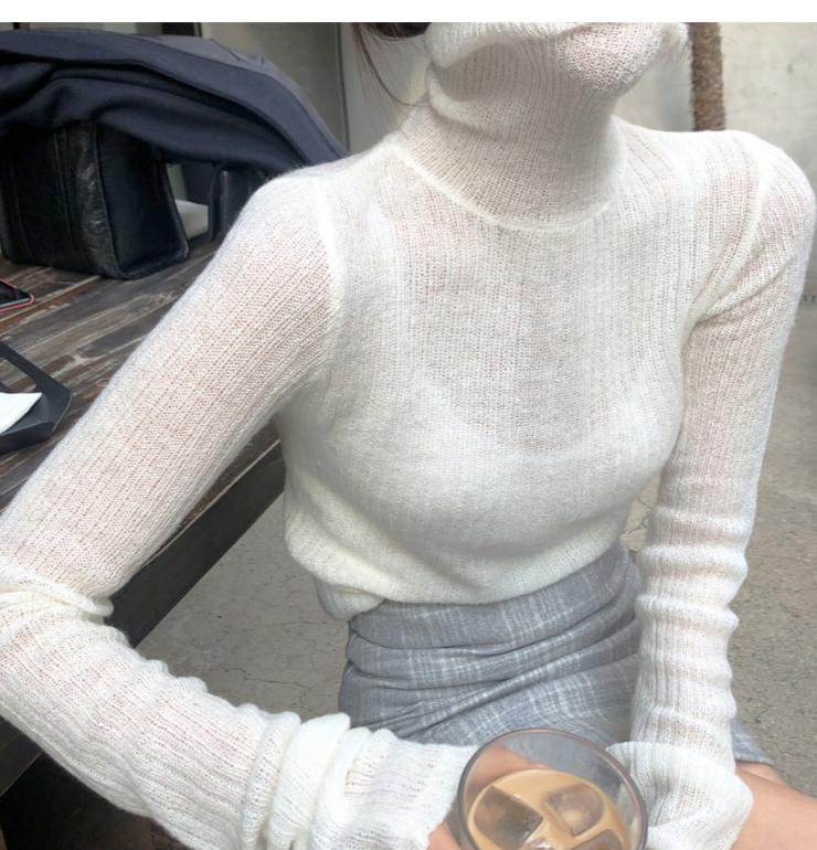 韓国 ファッション トップス ニット セーター 秋 冬 カジュアル PTXH099  タイト目 薄手 リブニット ベーシック 着回し オルチャン シンプル 定番 セレカジの写真8枚目