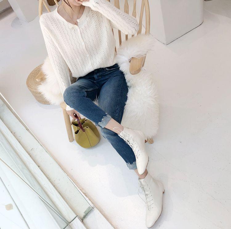 韓国 ファッション トップス ニット セーター 秋 冬 カジュアル PTXH103  透かし編み カーディガン エレガント オフィス オルチャン シンプル 定番 セレカジの写真5枚目