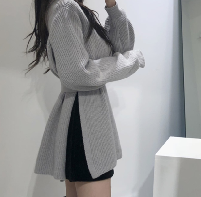 韓国 ファッション トップス ニット セーター 秋 冬 カジュアル PTXH150  リブニット スリット チュニック風 体型カバー オルチャン シンプル 定番 セレカジの写真4枚目