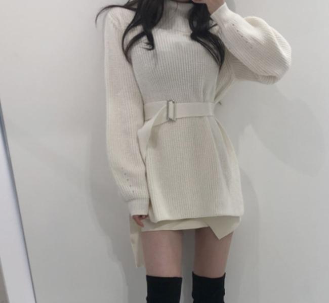 韓国 ファッション トップス ニット セーター 秋 冬 カジュアル PTXH150  リブニット スリット チュニック風 体型カバー オルチャン シンプル 定番 セレカジの写真5枚目