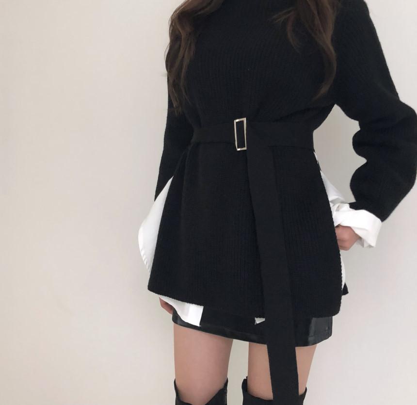 韓国 ファッション トップス ニット セーター 秋 冬 カジュアル PTXH150  リブニット スリット チュニック風 体型カバー オルチャン シンプル 定番 セレカジの写真6枚目
