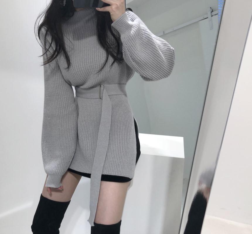 韓国 ファッション トップス ニット セーター 秋 冬 カジュアル PTXH150  リブニット スリット チュニック風 体型カバー オルチャン シンプル 定番 セレカジの写真7枚目