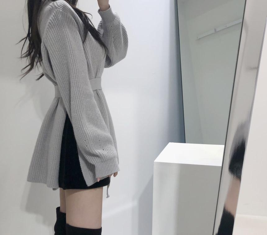 韓国 ファッション トップス ニット セーター 秋 冬 カジュアル PTXH150  リブニット スリット チュニック風 体型カバー オルチャン シンプル 定番 セレカジの写真10枚目