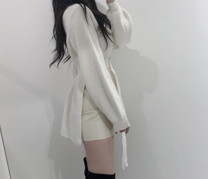 韓国 ファッション トップス ニット セーター 秋 冬 カジュアル PTXH150  リブニット スリット チュニック風 体型カバー オルチャン シンプル 定番 セレカジの写真12枚目