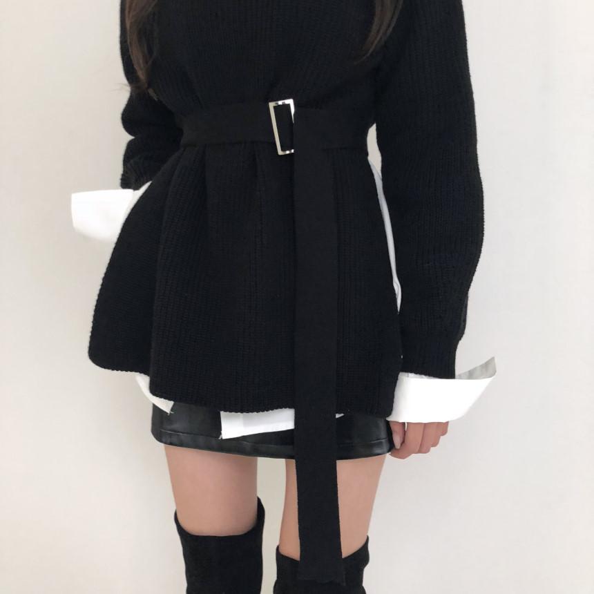韓国 ファッション トップス ニット セーター 秋 冬 カジュアル PTXH150  リブニット スリット チュニック風 体型カバー オルチャン シンプル 定番 セレカジの写真17枚目
