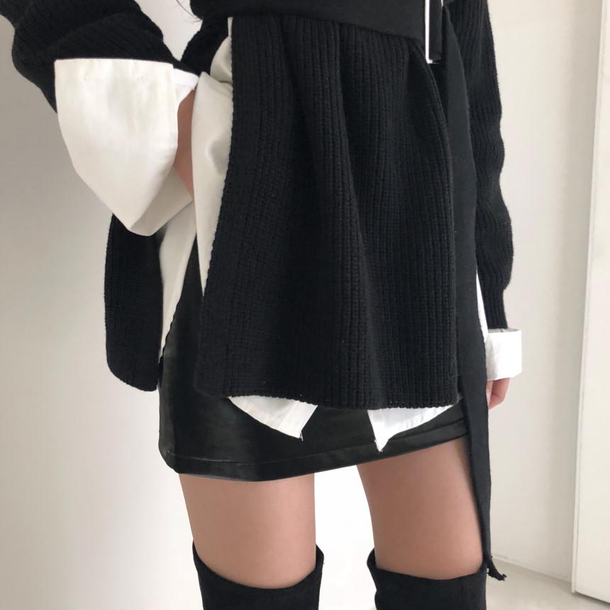 韓国 ファッション トップス ニット セーター 秋 冬 カジュアル PTXH150  リブニット スリット チュニック風 体型カバー オルチャン シンプル 定番 セレカジの写真18枚目