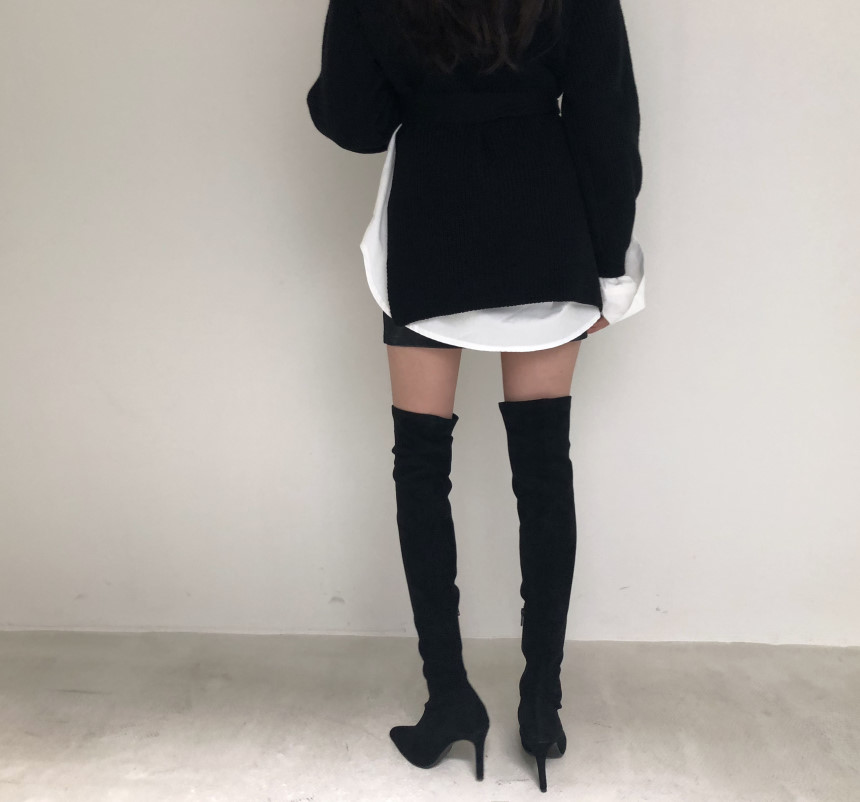 韓国 ファッション トップス ニット セーター 秋 冬 カジュアル PTXH150  リブニット スリット チュニック風 体型カバー オルチャン シンプル 定番 セレカジの写真20枚目