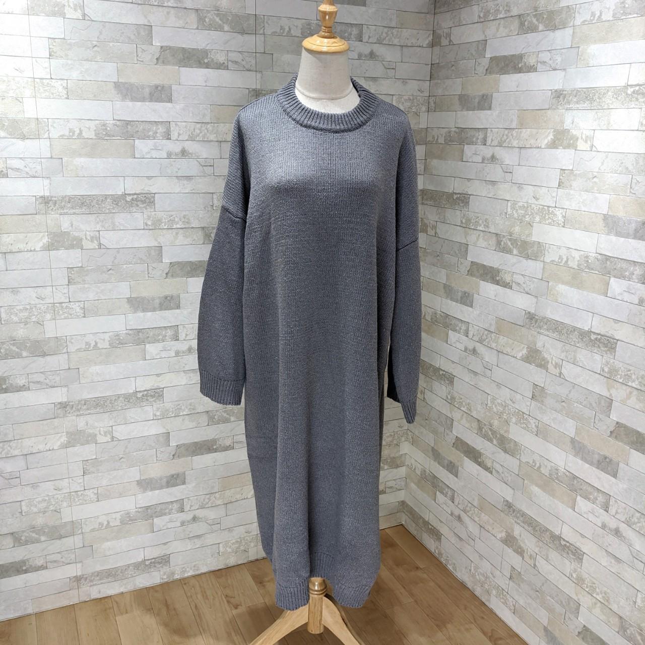 【即納】韓国 ファッション ワンピース 秋 冬 カジュアル SPTXH166  ゆったり リブニットワンピ ビッグシルエット オルチャン シンプル 定番 セレカジの写真3枚目
