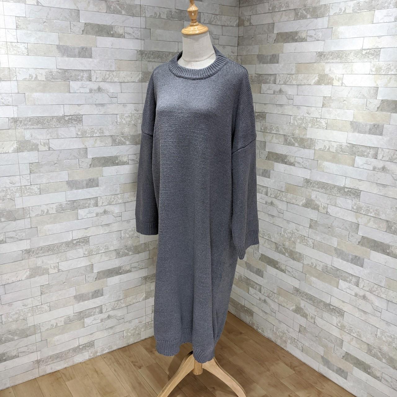 【即納】韓国 ファッション ワンピース 秋 冬 カジュアル SPTXH166  ゆったり リブニットワンピ ビッグシルエット オルチャン シンプル 定番 セレカジの写真6枚目