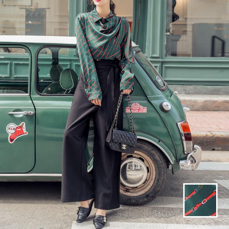 韓国 ファッション パンツ セットアップ パーティードレス 結婚式 お呼ばれドレス 秋 冬 パーティー ブライダル PTXH244  ドレープ スカーフ柄 ワイドパンツ レト 二次会 セレブ きれいめの写真1枚目