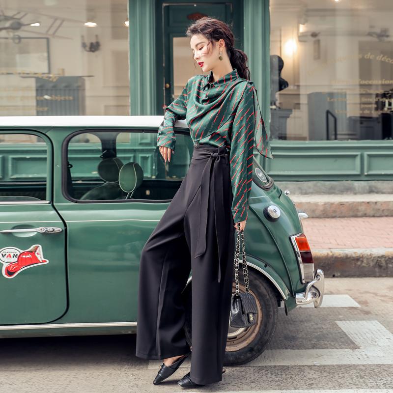 韓国 ファッション パンツ セットアップ パーティードレス 結婚式 お呼ばれドレス 秋 冬 パーティー ブライダル PTXH244  ドレープ スカーフ柄 ワイドパンツ レト 二次会 セレブ きれいめの写真3枚目
