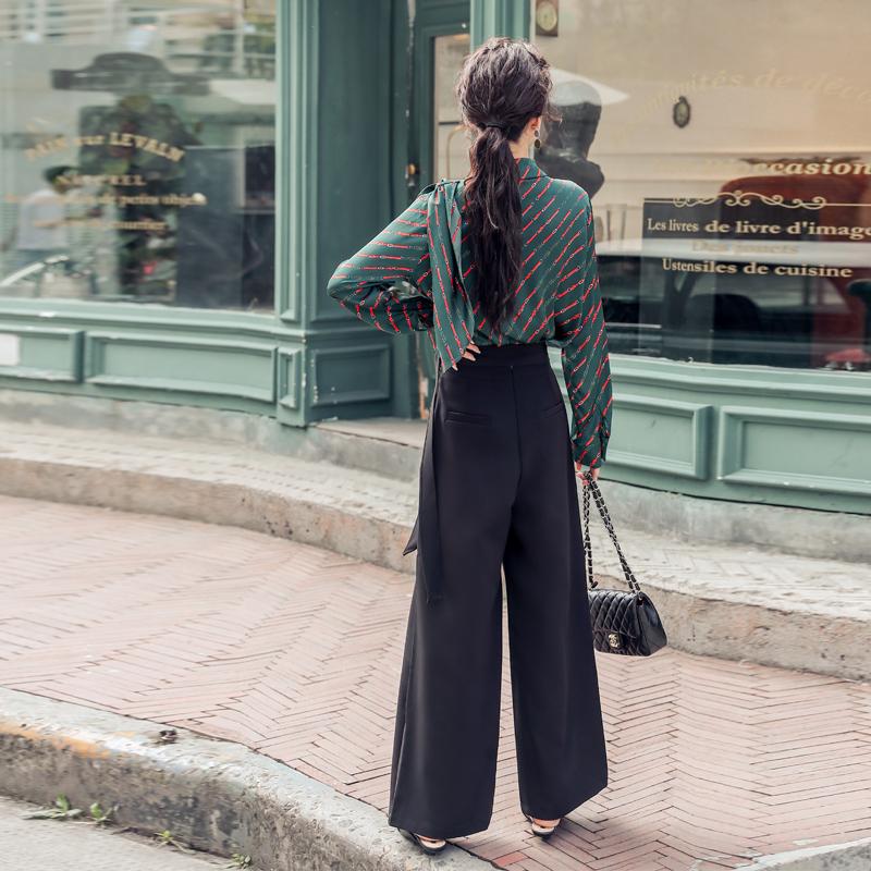 韓国 ファッション パンツ セットアップ パーティードレス 結婚式 お呼ばれドレス 秋 冬 パーティー ブライダル PTXH244  ドレープ スカーフ柄 ワイドパンツ レト 二次会 セレブ きれいめの写真6枚目