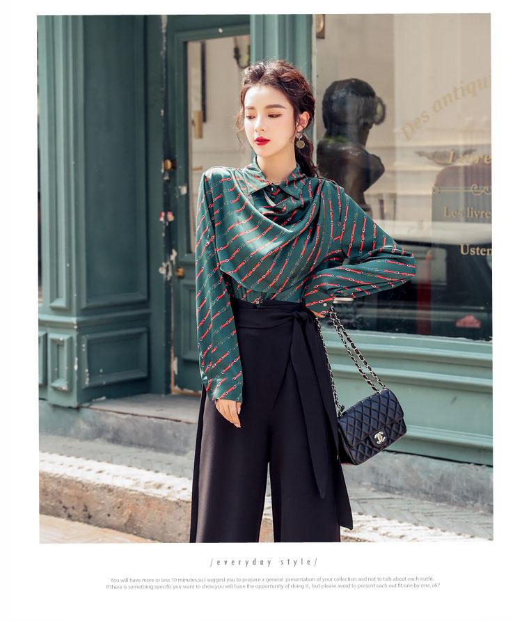 韓国 ファッション パンツ セットアップ パーティードレス 結婚式 お呼ばれドレス 秋 冬 パーティー ブライダル PTXH244  ドレープ スカーフ柄 ワイドパンツ レト 二次会 セレブ きれいめの写真7枚目
