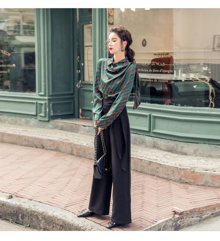 韓国 ファッション パンツ セットアップ パーティードレス 結婚式 お呼ばれドレス 秋 冬 パーティー ブライダル PTXH244  ドレープ スカーフ柄 ワイドパンツ レト 二次会 セレブ きれいめの写真8枚目