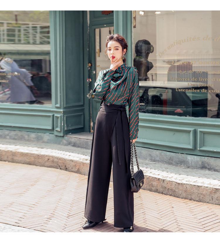 韓国 ファッション パンツ セットアップ パーティードレス 結婚式 お呼ばれドレス 秋 冬 パーティー ブライダル PTXH244  ドレープ スカーフ柄 ワイドパンツ レト 二次会 セレブ きれいめの写真9枚目
