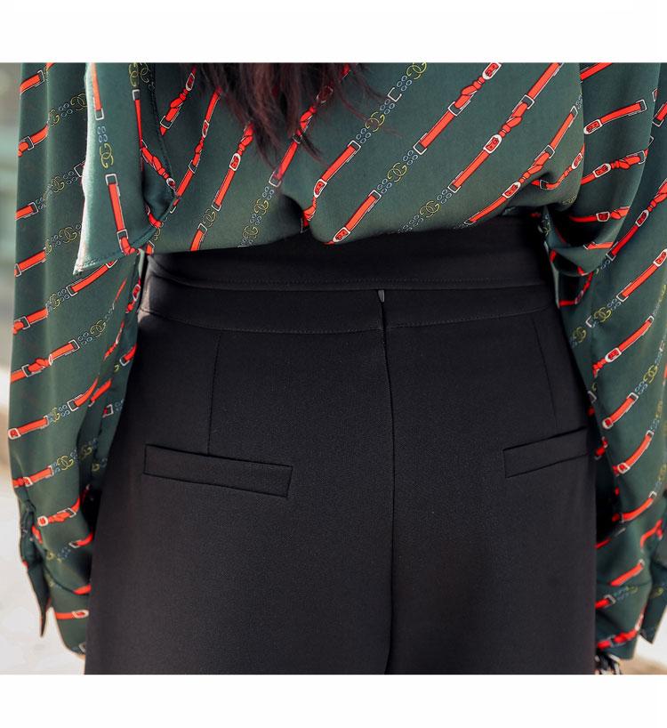 韓国 ファッション パンツ セットアップ パーティードレス 結婚式 お呼ばれドレス 秋 冬 パーティー ブライダル PTXH244  ドレープ スカーフ柄 ワイドパンツ レト 二次会 セレブ きれいめの写真11枚目