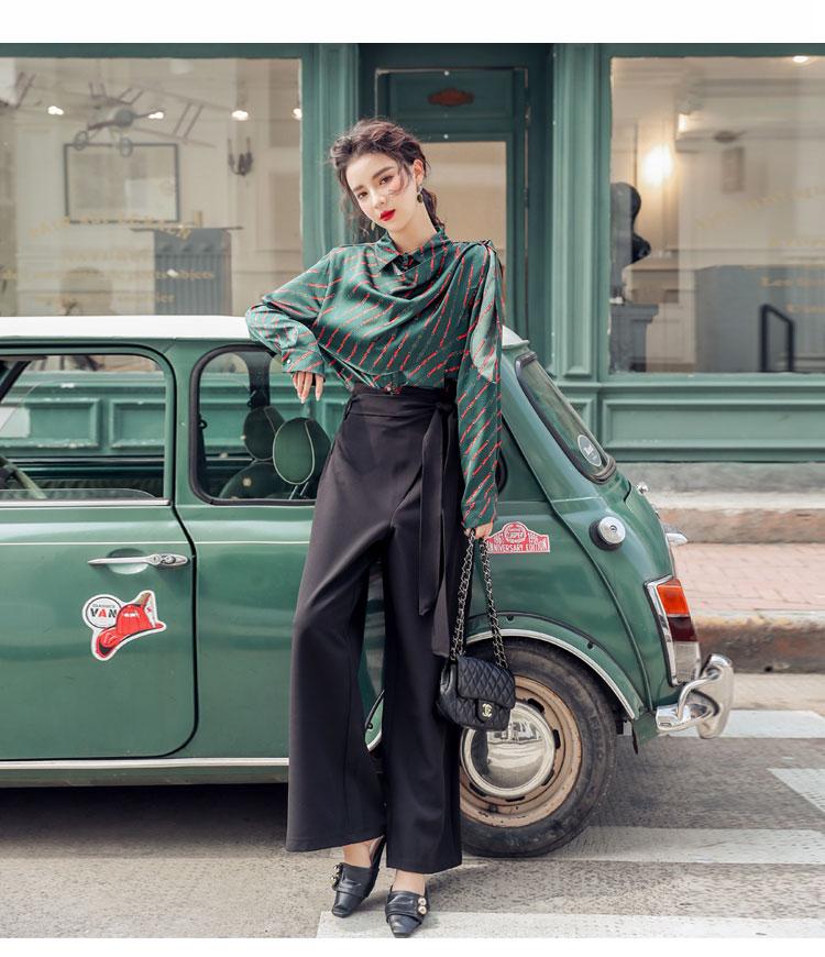 韓国 ファッション パンツ セットアップ パーティードレス 結婚式 お呼ばれドレス 秋 冬 パーティー ブライダル PTXH244  ドレープ スカーフ柄 ワイドパンツ レト 二次会 セレブ きれいめの写真12枚目