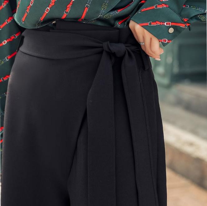 韓国 ファッション パンツ セットアップ パーティードレス 結婚式 お呼ばれドレス 秋 冬 パーティー ブライダル PTXH244  ドレープ スカーフ柄 ワイドパンツ レト 二次会 セレブ きれいめの写真15枚目
