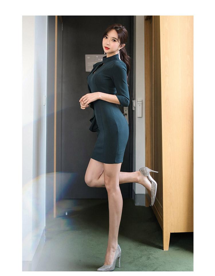 韓国 ファッション ワンピース パーティードレス ショート ミニ丈 秋 冬 パーティー ブライダル PTXH286 結婚式 お呼ばれ 肌見せ カットオフ アシンメトリー ラッ 二次会 セレブ きれいめの写真10枚目