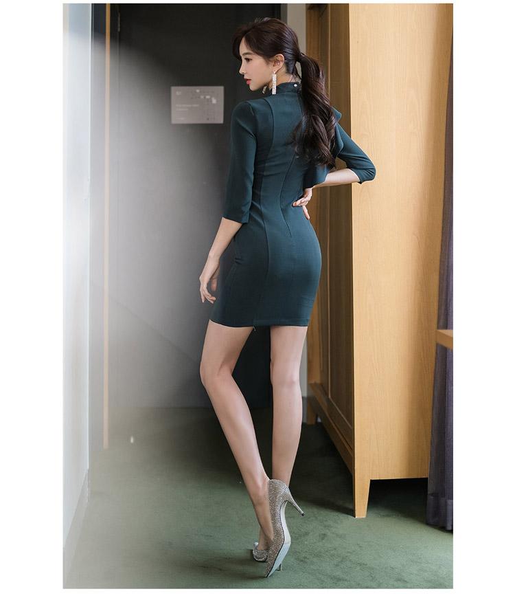 韓国 ファッション ワンピース パーティードレス ショート ミニ丈 秋 冬 パーティー ブライダル PTXH286 結婚式 お呼ばれ 肌見せ カットオフ アシンメトリー ラッ 二次会 セレブ きれいめの写真17枚目