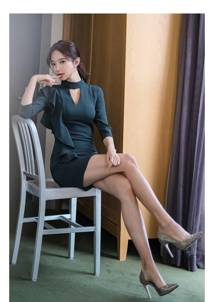 韓国 ファッション ワンピース パーティードレス ショート ミニ丈 秋 冬 パーティー ブライダル PTXH286 結婚式 お呼ばれ 肌見せ カットオフ アシンメトリー ラッ 二次会 セレブ きれいめの写真18枚目