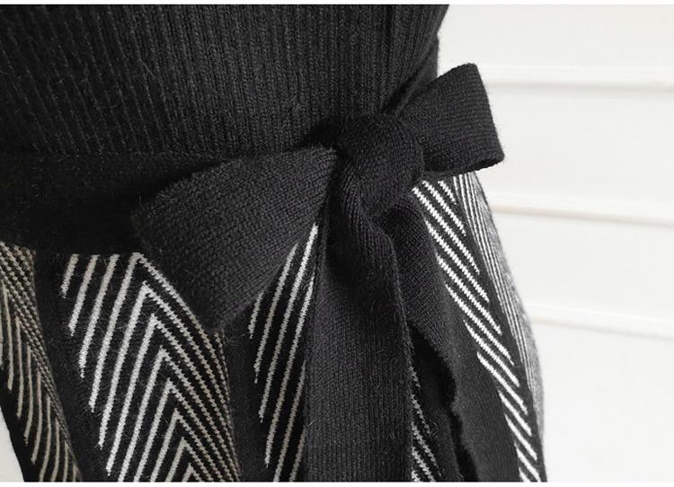 韓国 ファッション ワンピース パーティードレス ひざ丈 ミディアム 秋 冬 パーティー ブライダル PTXH313 結婚式 お呼ばれ モノトーン プリーツ風 ゴアードスカー 二次会 セレブ きれいめの写真16枚目