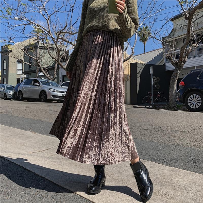 韓国 ファッション スカート ボトムス 秋 冬 カジュアル PTXH326  光沢 マキシ丈 プリーツスカート 着回し オルチャン シンプル 定番 セレカジの写真11枚目