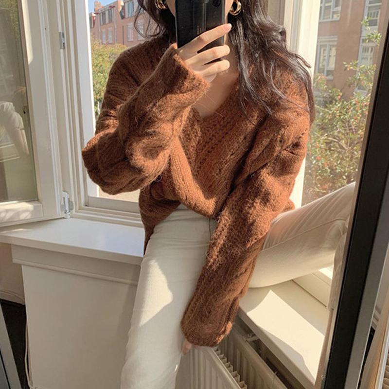 韓国 ファッション トップス ニット セーター 秋 冬 カジュアル PTXH336  ゆったり 体型カバー マニッシュ スポーティ オルチャン シンプル 定番 セレカジの写真5枚目