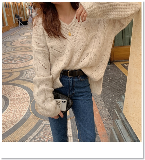 韓国 ファッション トップス ニット セーター 秋 冬 カジュアル PTXH336  ゆったり 体型カバー マニッシュ スポーティ オルチャン シンプル 定番 セレカジの写真6枚目